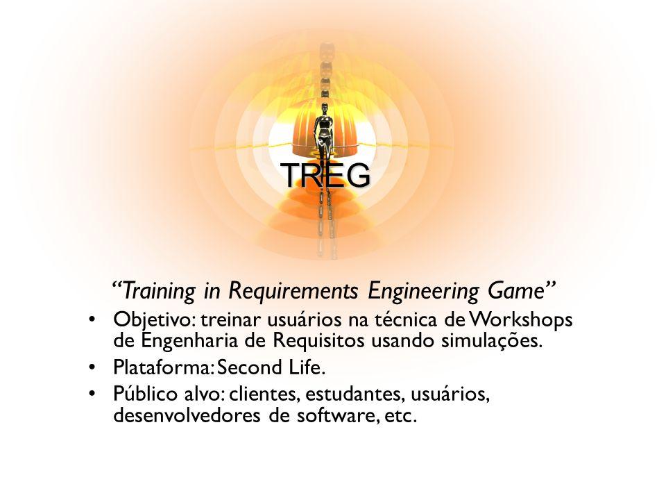 TREG Training in Requirements Engineering Game Objetivo: treinar usuários na técnica de Workshops de Engenharia de Requisitos usando simulações. Plata