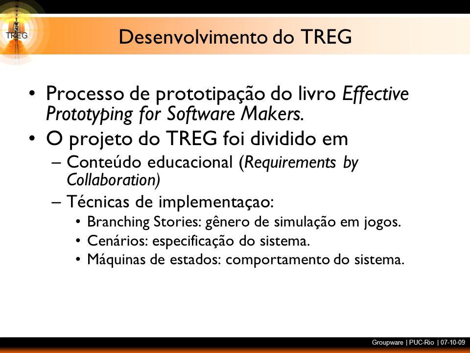 TREG Groupware | PUC-Rio | 07-10-09 Desenvolvimento do TREG Processo de prototipação do livro Effective Prototyping for Software Makers. O projeto do