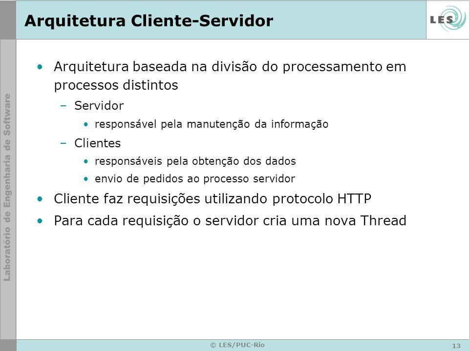 13 © LES/PUC-Rio Arquitetura Cliente-Servidor Arquitetura baseada na divisão do processamento em processos distintos –Servidor responsável pela manute