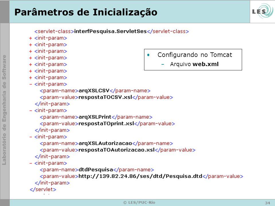 34 © LES/PUC-Rio Parâmetros de Inicialização Configurando no Tomcat –Arquivo web.xml