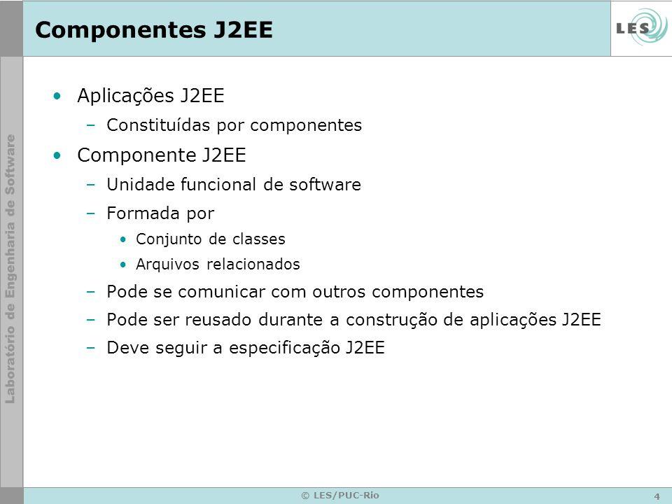 4 © LES/PUC-Rio Componentes J2EE Aplicações J2EE –Constituídas por componentes Componente J2EE –Unidade funcional de software –Formada por Conjunto de