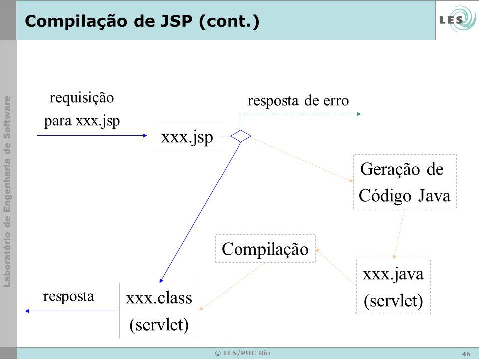 46 © LES/PUC-Rio Compilação de JSP (cont.) xxx.jsp requisição para xxx.jsp resposta resposta de erro xxx.class (servlet) Geração de Código Java xxx.ja
