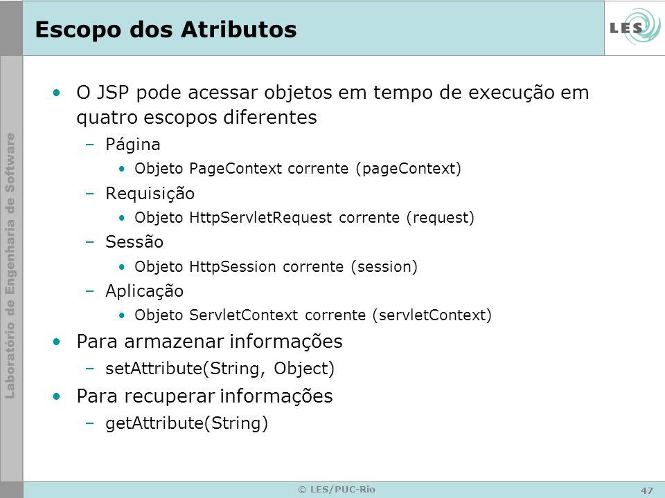47 © LES/PUC-Rio Escopo dos Atributos O JSP pode acessar objetos em tempo de execução em quatro escopos diferentes –Página Objeto PageContext corrente