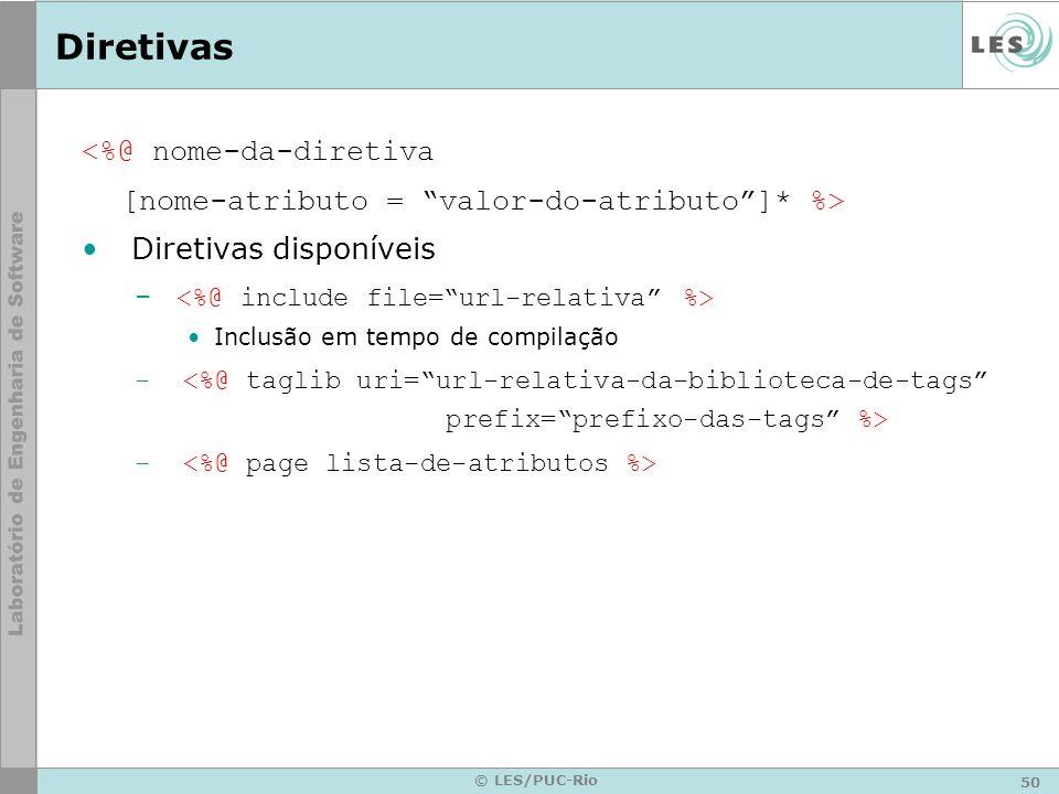 50 © LES/PUC-Rio Diretivas <%@ nome-da-diretiva [nome-atributo = valor-do-atributo]* %> Diretivas disponíveis – Inclusão em tempo de compilação –