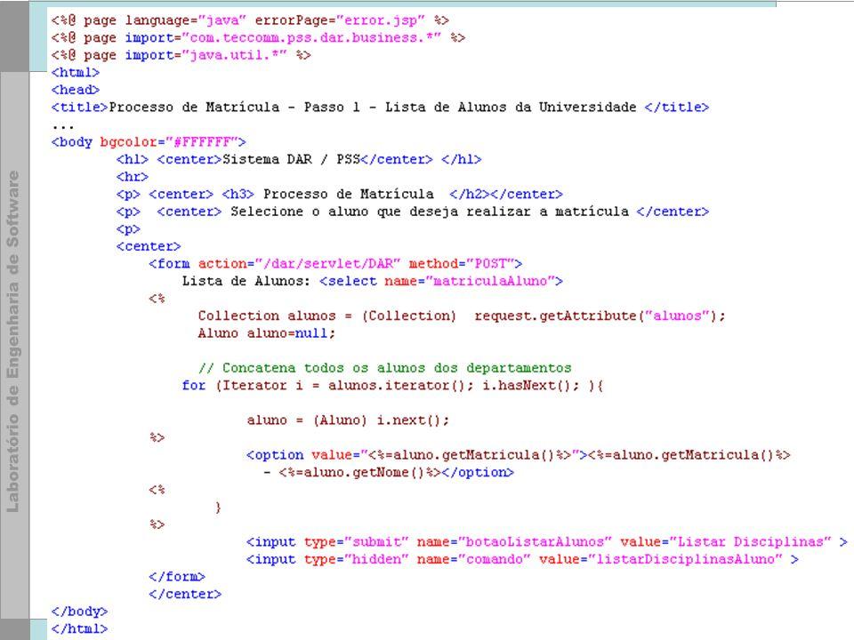 61 © LES/PUC-Rio Ações jsp:useBean jsp:setProperty jsp:getProperty jsp:include jsp:forward –ou então tags personalizadas via taglib
