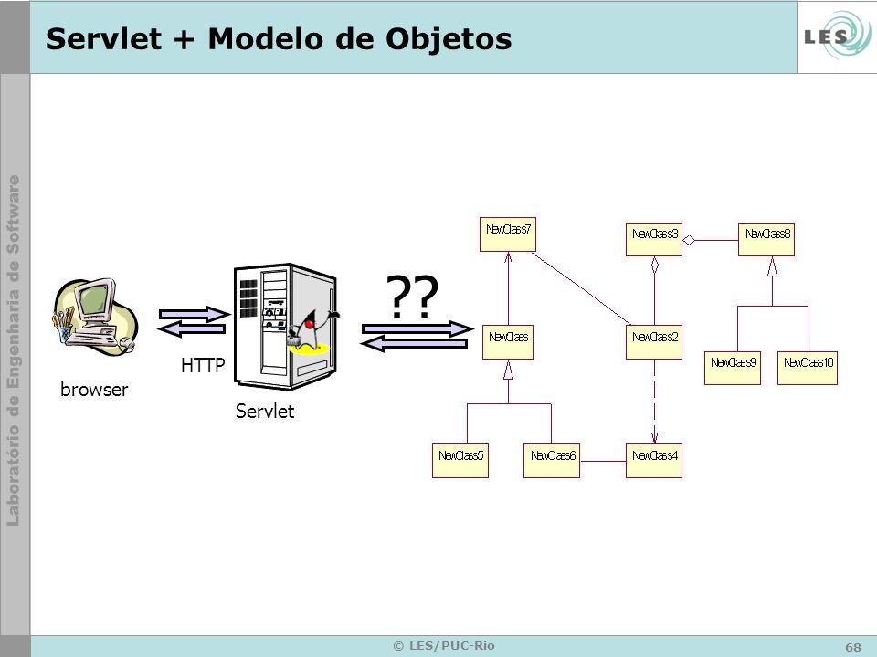 68 © LES/PUC-Rio Servlet + Modelo de Objetos browser HTTP Servlet ??
