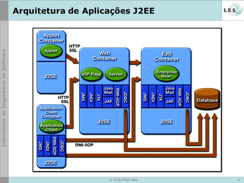 8 © LES/PUC-Rio Servidores J2EE Componentes J2EE são instalados em servidores Servidores –Oferecem infra-estrutura para gerenciamento do ciclo de vida dos componentes –Incluem containers Web e EJB –Provêem diversos serviços para os componentes Transações Persistência Segurança Nomes Distribuição