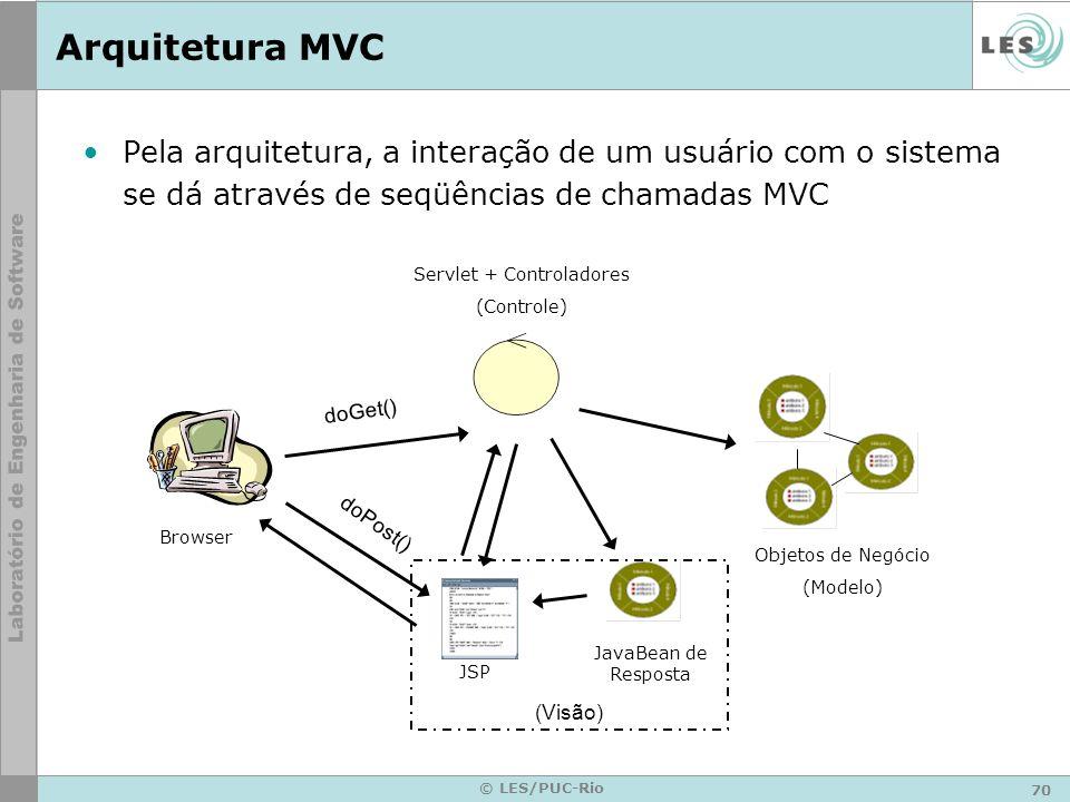 71 © LES/PUC-Rio Arquitetura MVC O modelo será uma aplicação Java orientada a objetos O controlador será alguma tecnologia de implementação (padrão comando) que juntamente com o Servlet redirecionará as chamadas feitas pelo cliente aos objetos responsáveis no modelo A apresentação será representada pelo JSP
