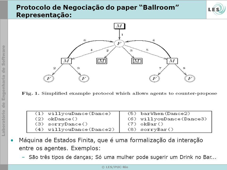 © LES/PUC-Rio Protocolo de Negociação do paper Ballroom Representação: Máquina de Estados Finita, que é uma formalização da interação entre os agentes.