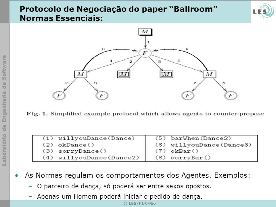 © LES/PUC-Rio Protocolo de Negociação do paper Ballroom Normas Essenciais: As Normas regulam os comportamentos dos Agentes. Exemplos: –O parceiro de d