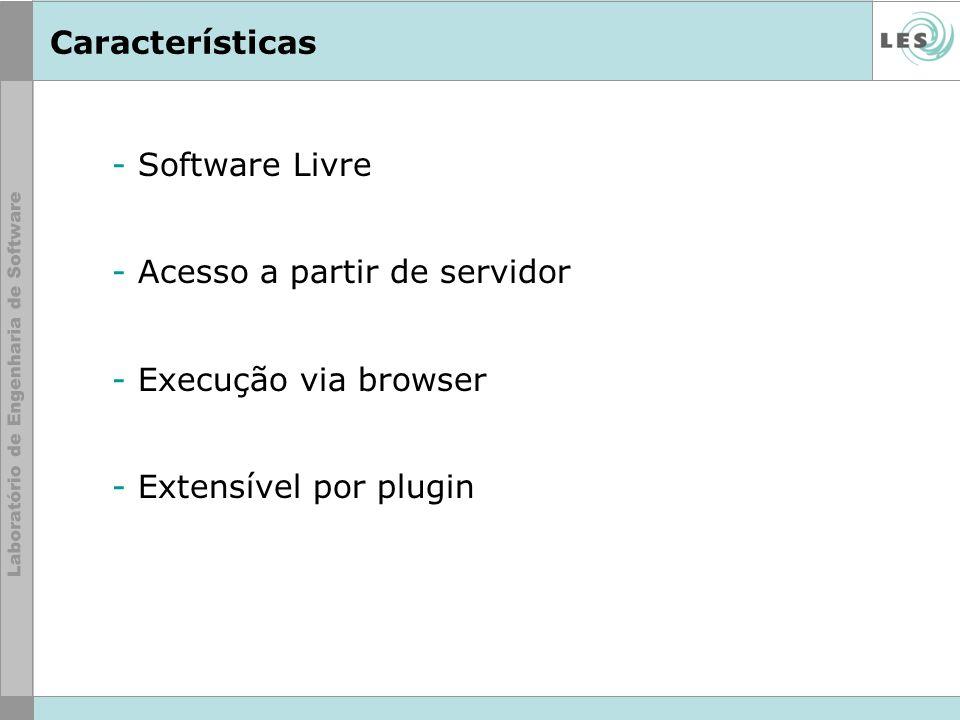 Características - Software Livre - Acesso a partir de servidor - Execução via browser - Extensível por plugin
