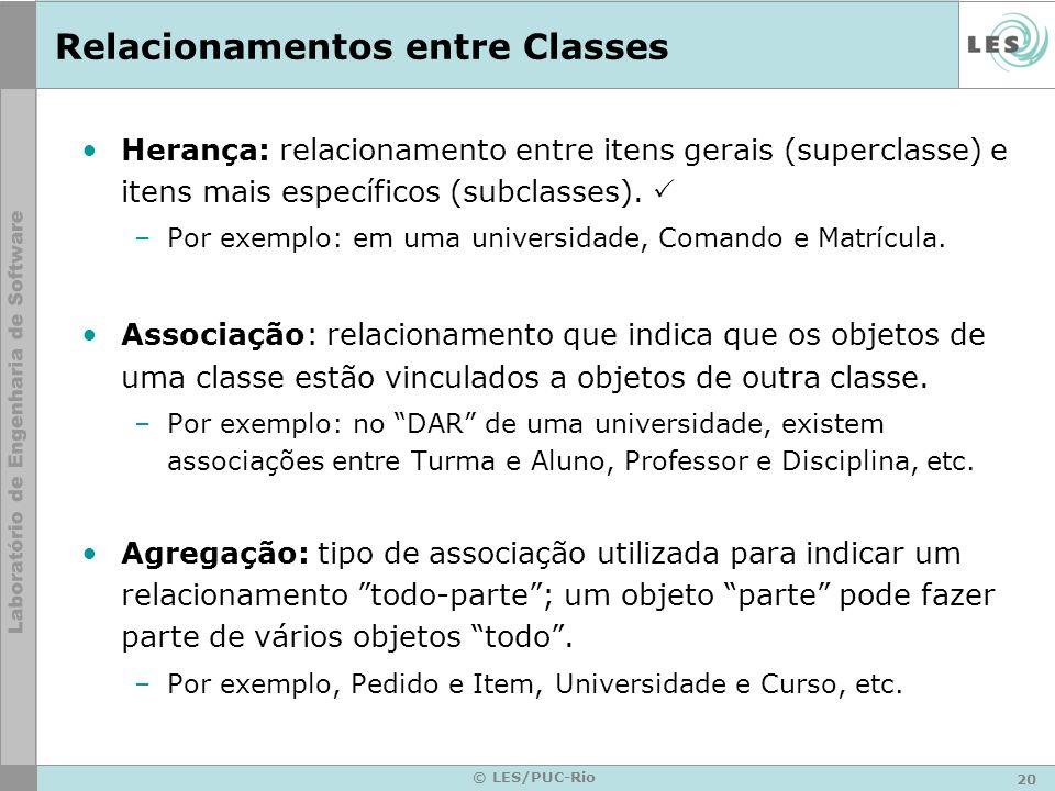 20 © LES/PUC-Rio Relacionamentos entre Classes Herança: relacionamento entre itens gerais (superclasse) e itens mais específicos (subclasses). –Por ex
