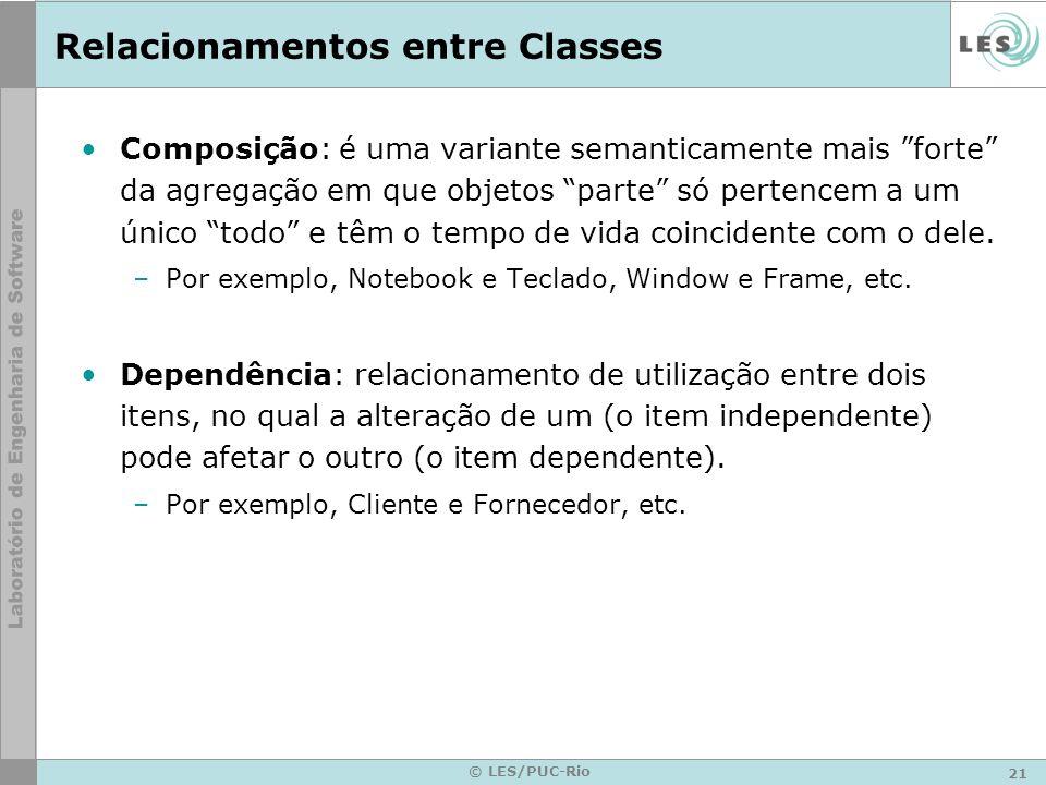 21 © LES/PUC-Rio Relacionamentos entre Classes Composição: é uma variante semanticamente mais forte da agregação em que objetos parte só pertencem a u