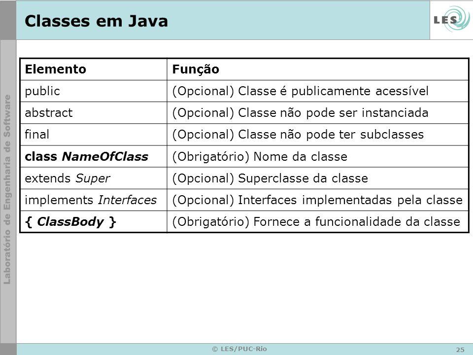 25 © LES/PUC-Rio Classes em Java ElementoFunção public(Opcional) Classe é publicamente acessível abstract(Opcional) Classe não pode ser instanciada fi