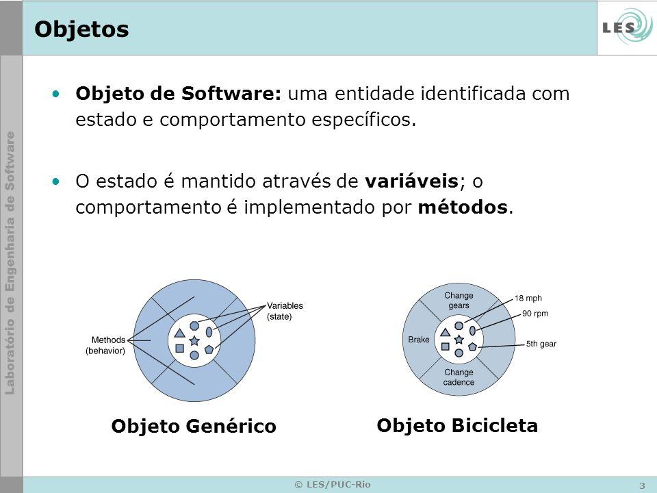 3 © LES/PUC-Rio Objetos Objeto de Software: uma entidade identificada com estado e comportamento específicos. O estado é mantido através de variáveis;
