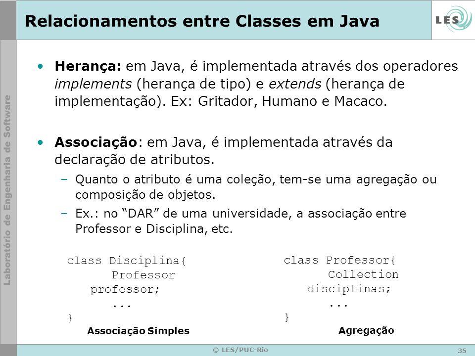 35 © LES/PUC-Rio Relacionamentos entre Classes em Java Herança: em Java, é implementada através dos operadores implements (herança de tipo) e extends