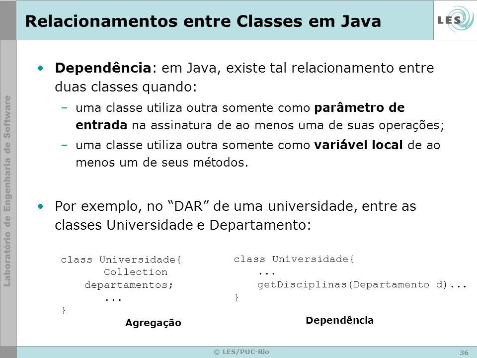 36 © LES/PUC-Rio Relacionamentos entre Classes em Java Dependência: em Java, existe tal relacionamento entre duas classes quando: –uma classe utiliza