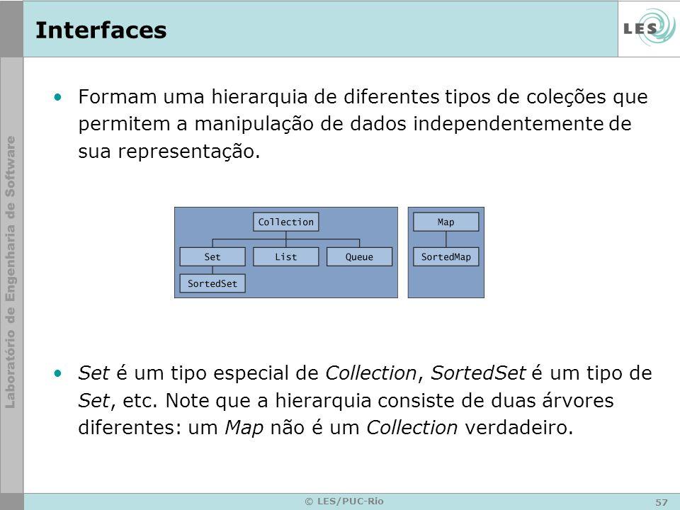 57 © LES/PUC-Rio Interfaces Formam uma hierarquia de diferentes tipos de coleções que permitem a manipulação de dados independentemente de sua represe