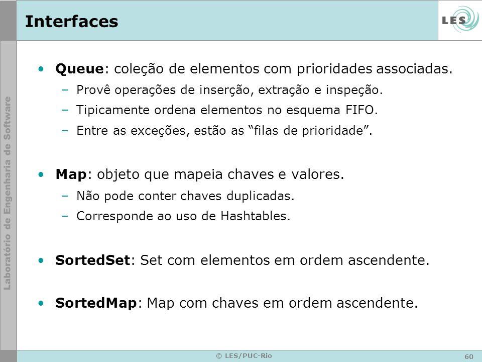 60 © LES/PUC-Rio Interfaces Queue: coleção de elementos com prioridades associadas. –Provê operações de inserção, extração e inspeção. –Tipicamente or