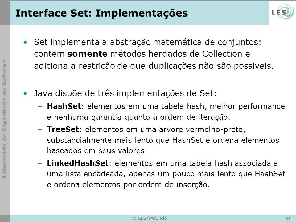 65 © LES/PUC-Rio Interface Set: Implementações Set implementa a abstração matemática de conjuntos: contém somente métodos herdados de Collection e adi