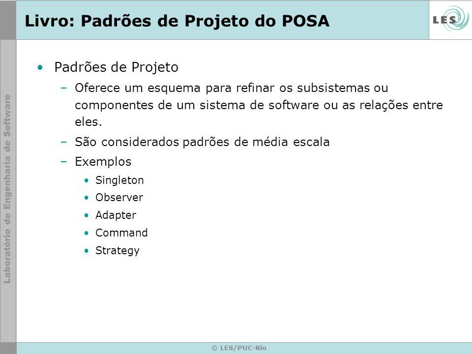 © LES/PUC-Rio Livro: Padrões de Projeto do POSA Padrões de Projeto –Oferece um esquema para refinar os subsistemas ou componentes de um sistema de sof