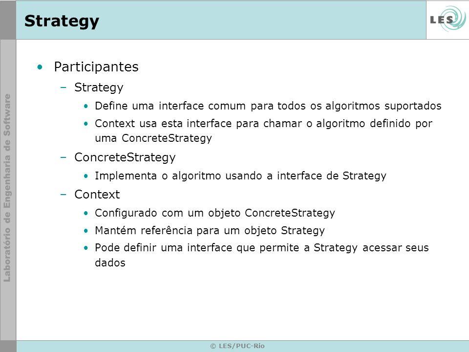 © LES/PUC-Rio Strategy Participantes –Strategy Define uma interface comum para todos os algoritmos suportados Context usa esta interface para chamar o