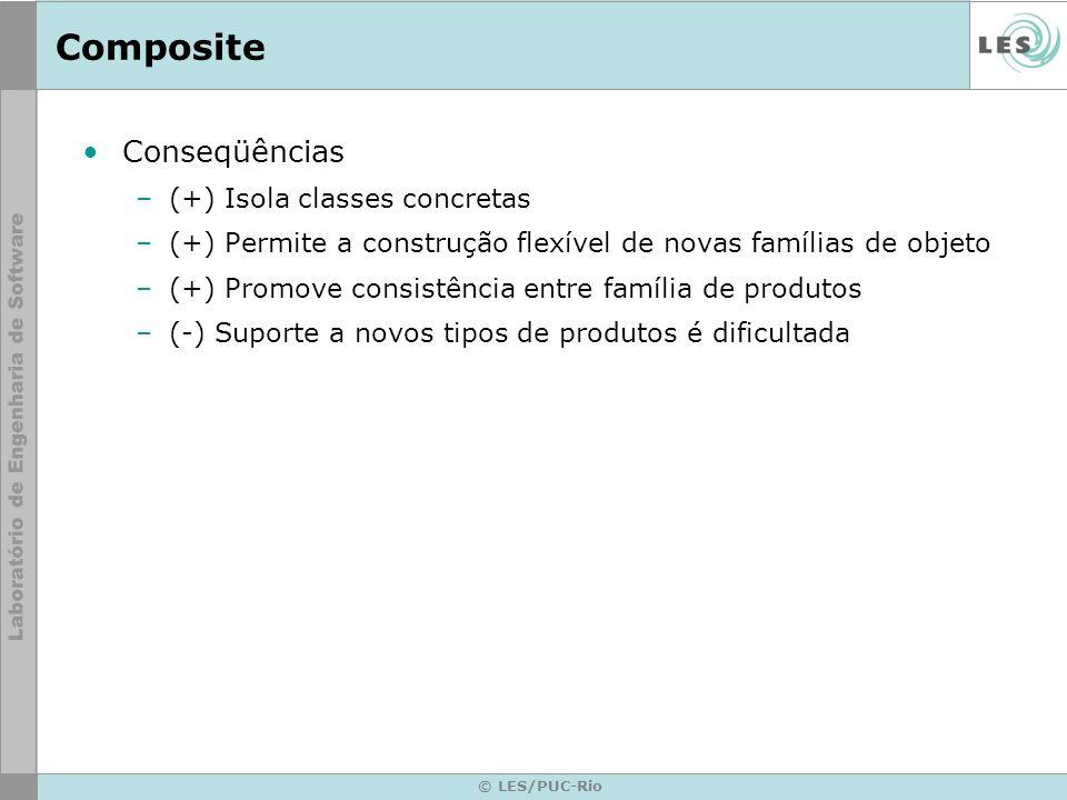 © LES/PUC-Rio Composite Conseqüências –(+) Isola classes concretas –(+) Permite a construção flexível de novas famílias de objeto –(+) Promove consist