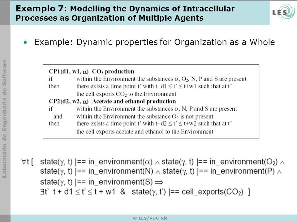 © LES/PUC-Rio Exemplo 7: Modelling the Dynamics of Intracellular Processes as Organization of Multiple Agents Example: Dynamic properties for Organiza