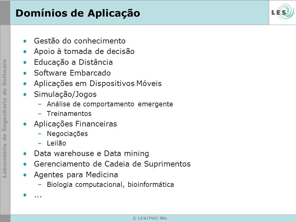 © LES/PUC-Rio Domínios de Aplicação Gestão do conhecimento Apoio à tomada de decisão Educação a Distância Software Embarcado Aplicações em Dispositivo