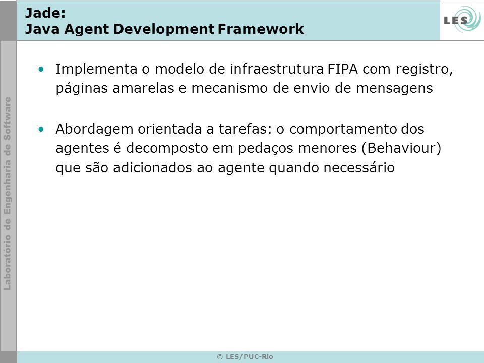 © LES/PUC-Rio Jade: Java Agent Development Framework Implementa o modelo de infraestrutura FIPA com registro, páginas amarelas e mecanismo de envio de
