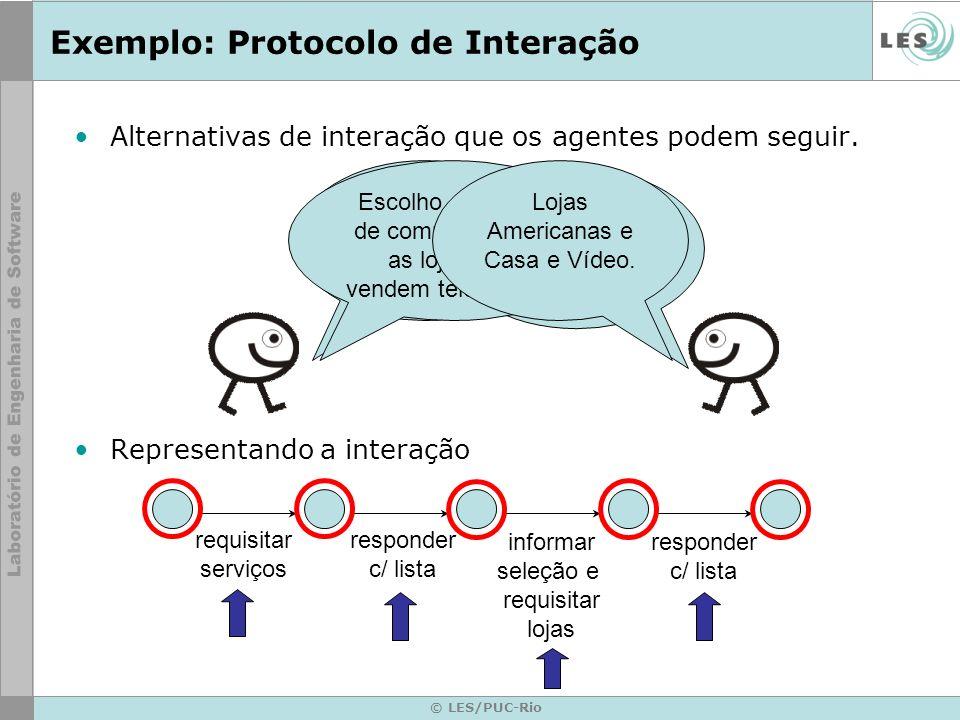 © LES/PUC-Rio Exemplo: Protocolo de Interação Alternativas de interação que os agentes podem seguir. Representando a interação Quais os serviços que v