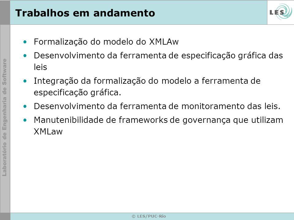 © LES/PUC-Rio Trabalhos em andamento Formalização do modelo do XMLAw Desenvolvimento da ferramenta de especificação gráfica das leis Integração da for