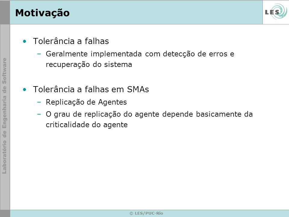 © LES/PUC-Rio Motivação Tolerância a falhas –Geralmente implementada com detecção de erros e recuperação do sistema Tolerância a falhas em SMAs –Repli