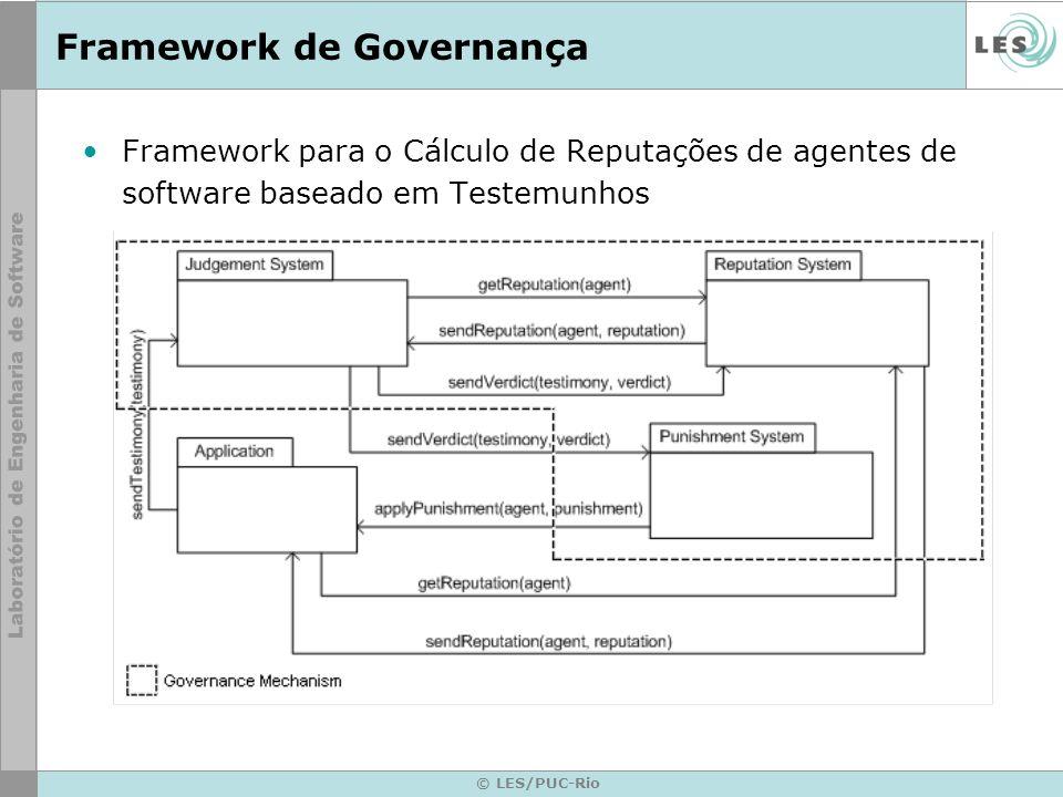 © LES/PUC-Rio Framework de Governança Framework para o Cálculo de Reputações de agentes de software baseado em Testemunhos