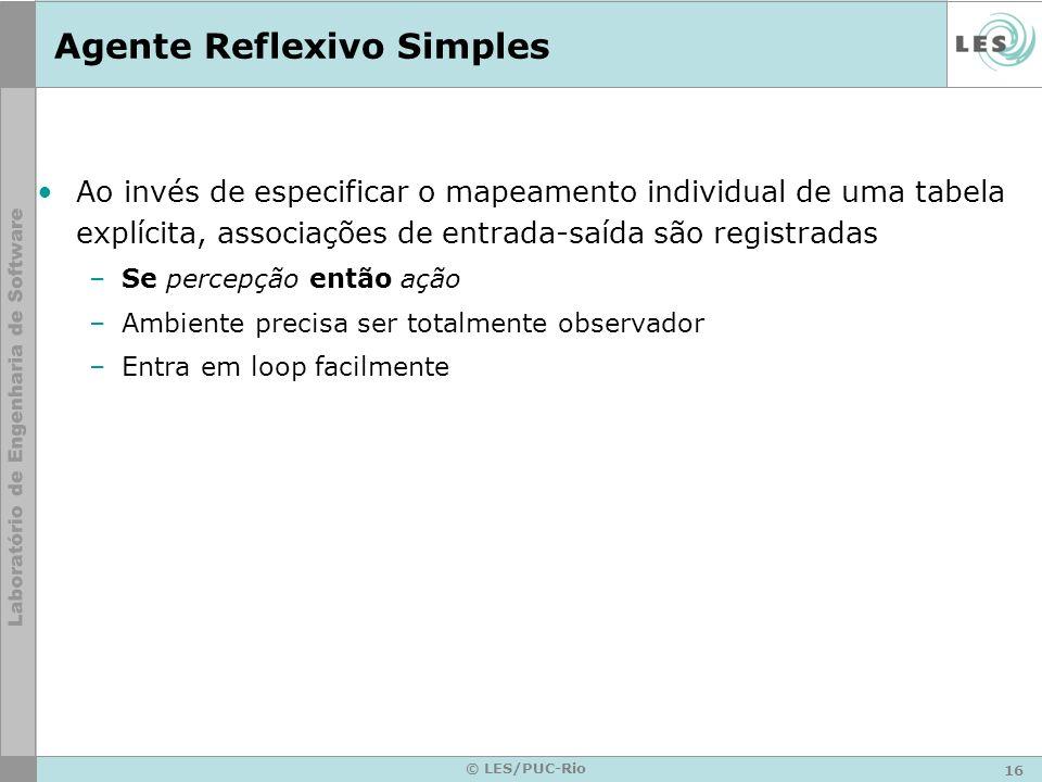 16 © LES/PUC-Rio Agente Reflexivo Simples Ao invés de especificar o mapeamento individual de uma tabela explícita, associações de entrada-saída são re