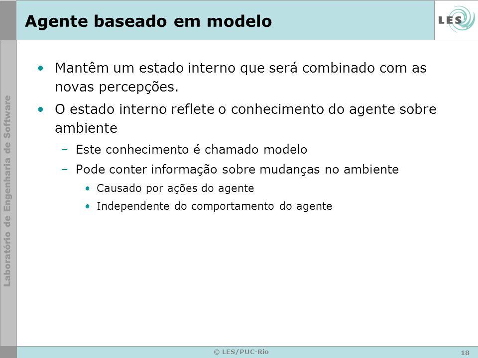 18 © LES/PUC-Rio Agente baseado em modelo Mantêm um estado interno que será combinado com as novas percepções. O estado interno reflete o conhecimento