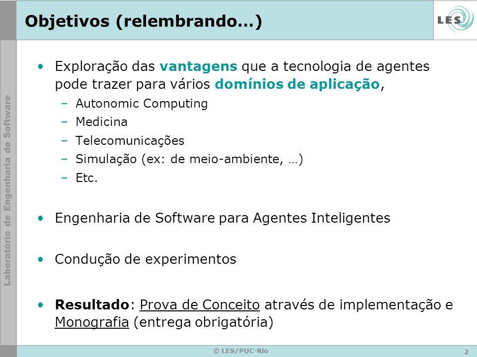 3 © LES/PUC-Rio Agenda Introdução e conceitos básicos –Inteligência Artificial –Inteligência Artificial Distribuída –Agentes Inteligentes –Agentes de Software Exemplos Agent Pitfalls Engenharia de Software de SMA –Motivação –Desafios