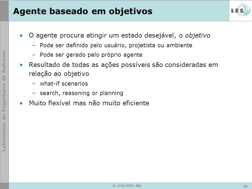 20 © LES/PUC-Rio Agente baseado em objetivos O agente procura atingir um estado desejável, o objetivo –Pode ser definido pelo usuário, projetista ou a