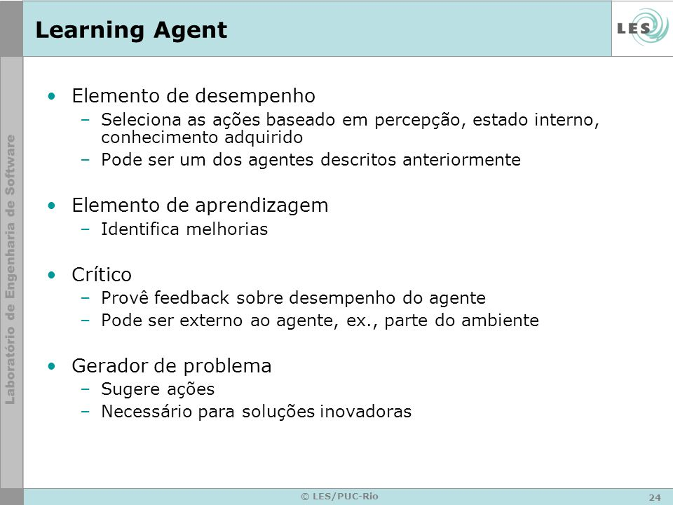 24 © LES/PUC-Rio Learning Agent Elemento de desempenho –Seleciona as ações baseado em percepção, estado interno, conhecimento adquirido –Pode ser um d
