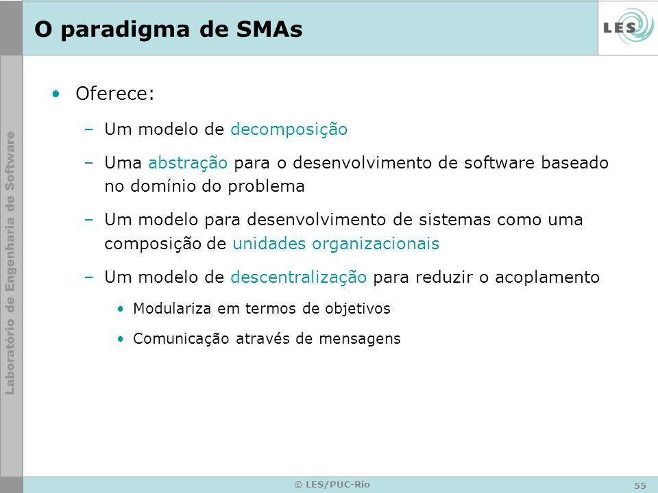 55 © LES/PUC-Rio O paradigma de SMAs Oferece: –Um modelo de decomposição –Uma abstração para o desenvolvimento de software baseado no domínio do probl