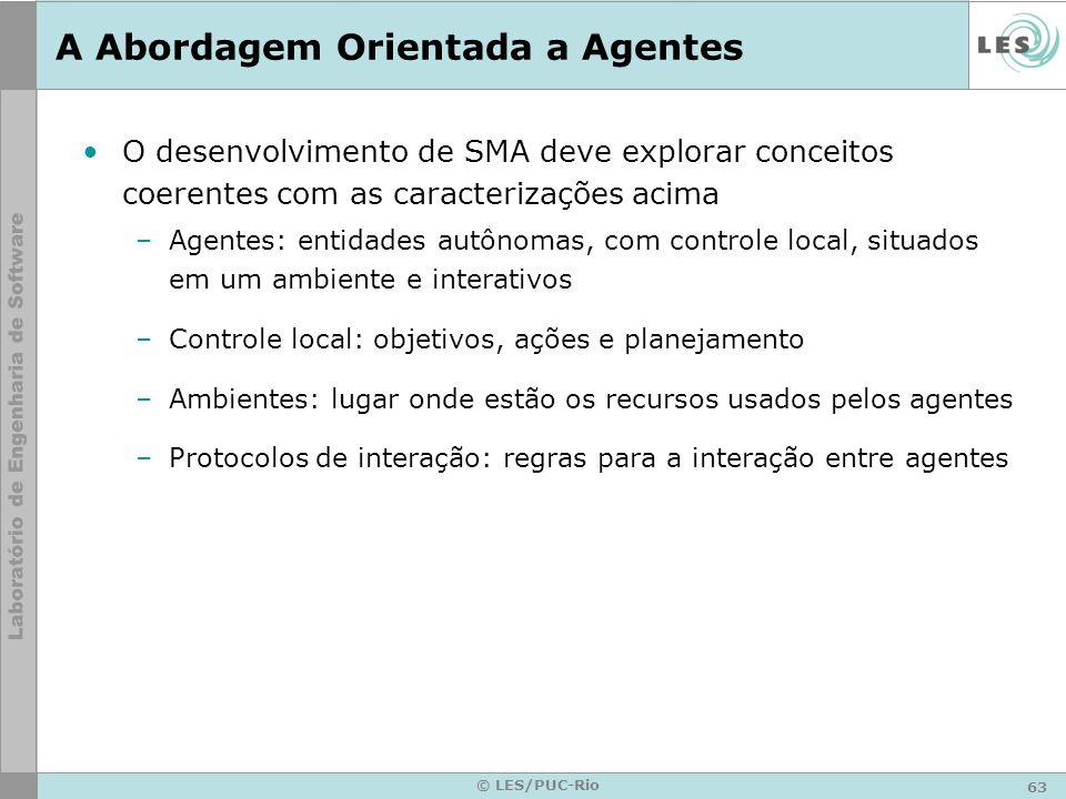 63 © LES/PUC-Rio A Abordagem Orientada a Agentes O desenvolvimento de SMA deve explorar conceitos coerentes com as caracterizações acima –Agentes: ent