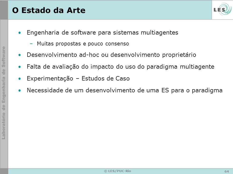 64 © LES/PUC-Rio O Estado da Arte Engenharia de software para sistemas multiagentes –Muitas propostas e pouco consenso Desenvolvimento ad-hoc ou desen