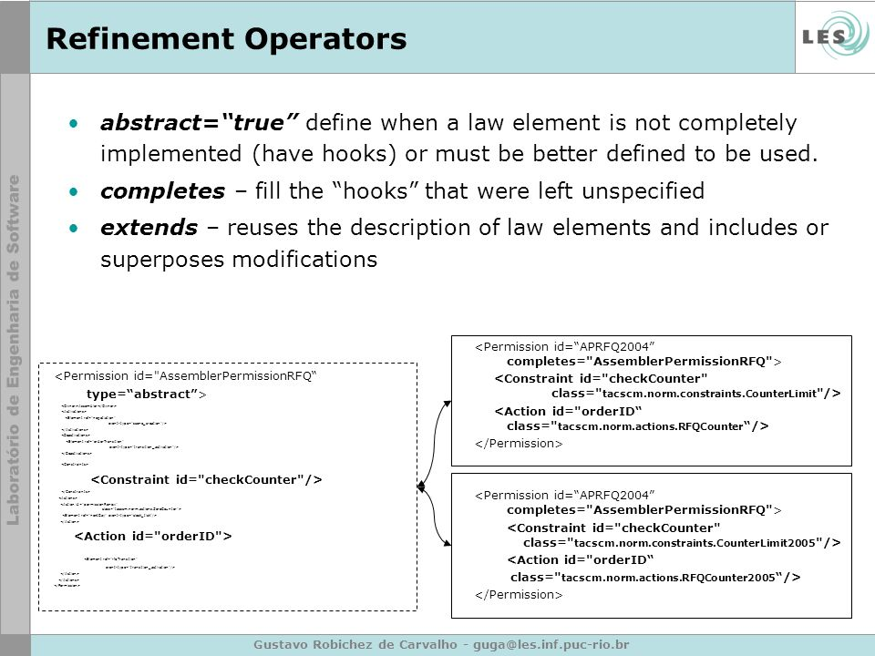 Gustavo Robichez de Carvalho - guga@les.inf.puc-rio.br Refinement Operators abstract=true define when a law element is not completely implemented (have hooks) or must be better defined to be used.