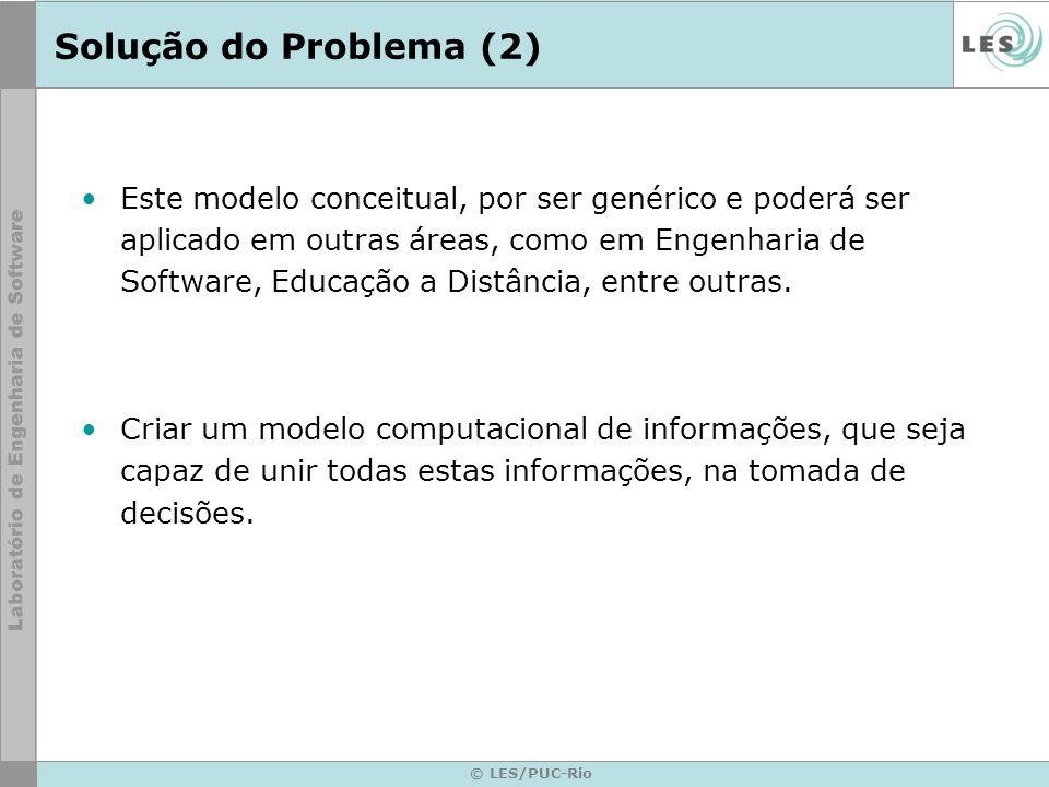 © LES/PUC-Rio Solução do Problema (2) Este modelo conceitual, por ser genérico e poderá ser aplicado em outras áreas, como em Engenharia de Software,