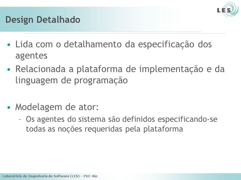Laboratório de Engenharia de Software (LES) – PUC-Rio Design Detalhado Modelagem de capacidade: –Uso do diagrama de atividades de UML para modelar capacidades e planos de um agente –Diagramas de capacidade e de plano