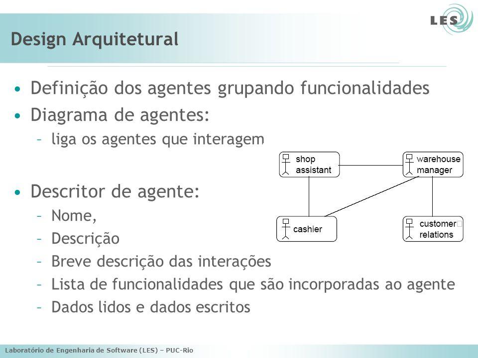 Laboratório de Engenharia de Software (LES) – PUC-Rio Name: Sales Assistant agent Description: greets customer, follows through site, assists with finding books Cardinality: one/customer.
