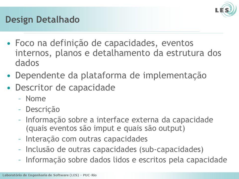 Laboratório de Engenharia de Software (LES) – PUC-Rio Design Detalhado Diagrama geral do agente: –Modela as capacidades de um agente e o fluxo de eventos ou tarefas entre as capacidades, assim como os dados internos de um agente