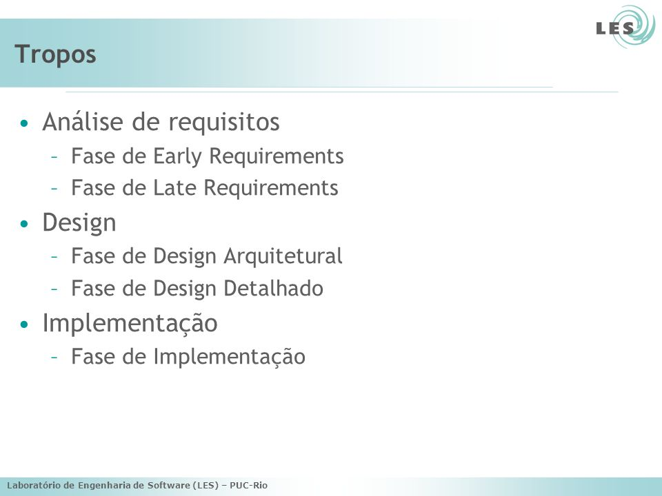 Laboratório de Engenharia de Software (LES) – PUC-Rio Tropos Análise de requisitos –Fase de Early Requirements –Fase de Late Requirements Design –Fase