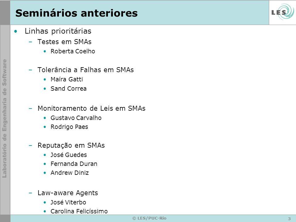 3 © LES/PUC-Rio Seminários anteriores Linhas prioritárias –Testes em SMAs Roberta Coelho –Tolerância a Falhas em SMAs Maíra Gatti Sand Correa –Monitor