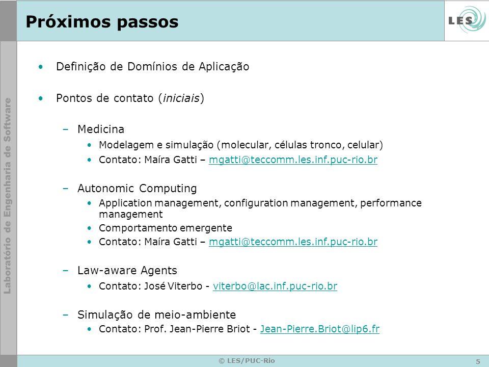 5 © LES/PUC-Rio Próximos passos Definição de Domínios de Aplicação Pontos de contato (iniciais) –Medicina Modelagem e simulação (molecular, células tr